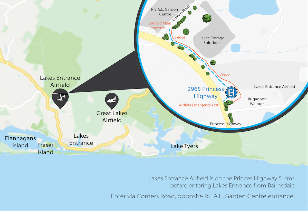 Directions to Lakes Entrance Helicopters